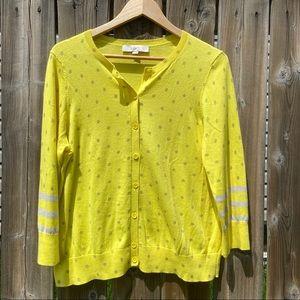 Size XL Ann Taylor LOFT Yellow Polka Dot Cardigan
